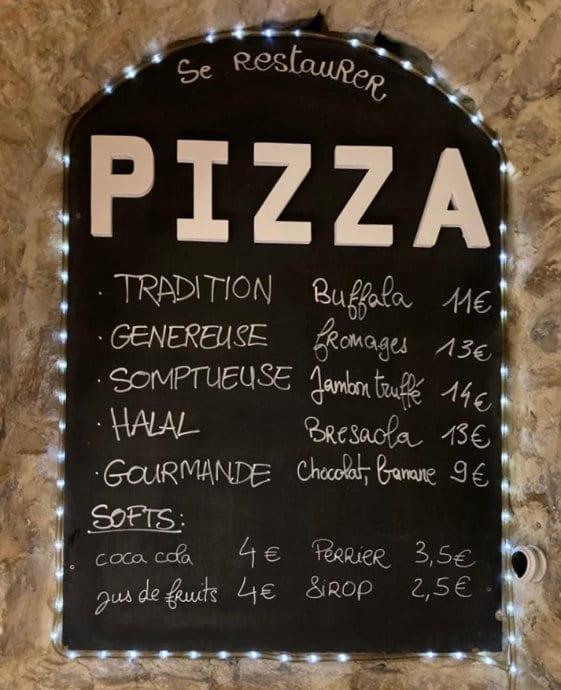 Carte du restaurant pizzerria